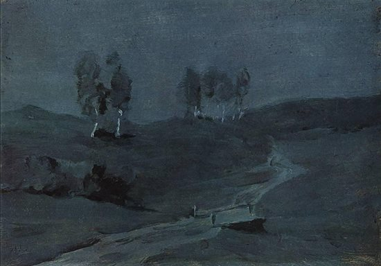 Shadows Moonlit Night by Isaac Levitan, ca 1885.