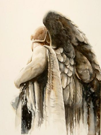 Watercolor painting techniques: Peggy Williams is a master of light and shadow. Her strokes are almost imperceptible and give a sense of a form with just one swipe (Warrior, 18 x 25, 2006, watercolor painting).