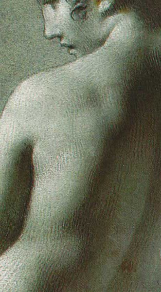 Academie de femme debout by Pierre-Paul Prud'hon (detail, reversed), charcoal drawing with chalk.