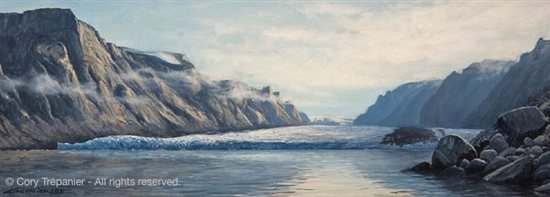 Trepanier based several large studio paintings on the plein air sketches he created while on his treks. Above, Great Glacier, study by Cory Trepanier, 16 x 6, oil on linen, painted at Coronation Fiord, Baff in Island, Nunavut, Eastern Canadian Arctic.