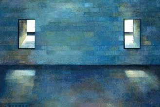 Blue Chamber by Sherry Zvares Sanabria, acrylic painting on paper, 40 x 60.