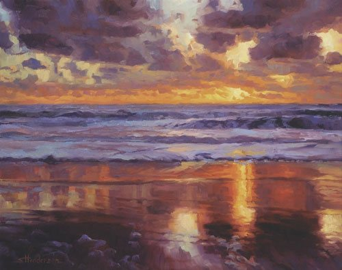 While to paint regularly, you don't need a huge space, you'll find yourself happiest with a designated one. On the Horizon by Steve Henderson, 24 x 30, oil painting, also available as a limited edition signed print.