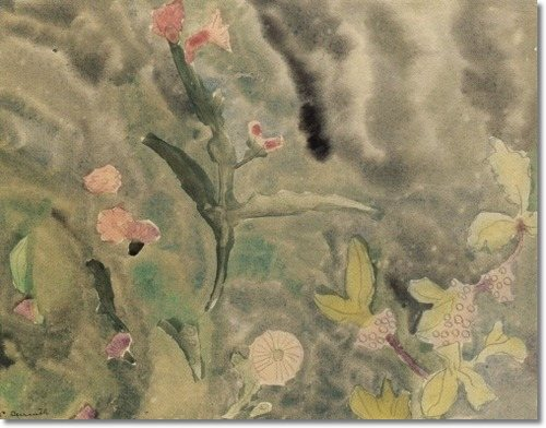 Flowers by Charles Demuth, watercolor painting, 1916, 9 x 11.