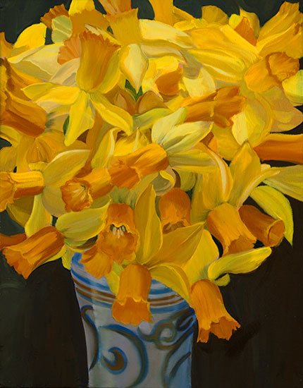 Miniature Narcissus Bouquet by Ann Trusty, oil painting, 11 x 14.