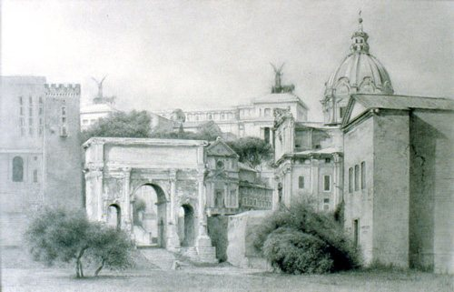 Roman Forum by Bennett Vadnais, graphite drawing on paper, 10 x 15.25, 2004.