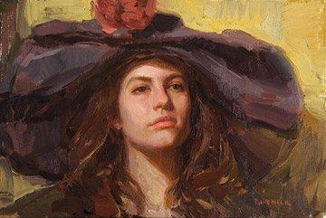 Tiffany's Hat by Scott Burdick, oil painting, 16 x 24.