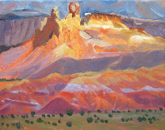 Chimney Rocks, Ghost Ranch, New Mexico by John Hulsey, 8 x 10, oil painting.