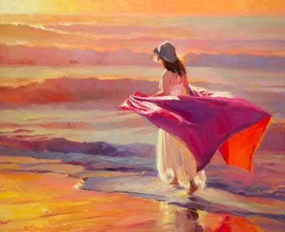 There are times when only solitude will do. Catching the Breeze, an original oil painting, signed limited edition print, miniature study, and note card by Steve Henderson.