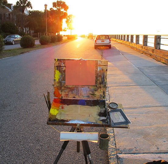Plein air painting setup