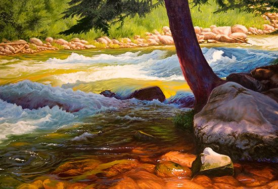Gore Creek I, oil on canvas, 36 x 48.