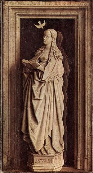 The Annunciation by Jan van Eyck, 20 x 12, oil on panel, 1439.