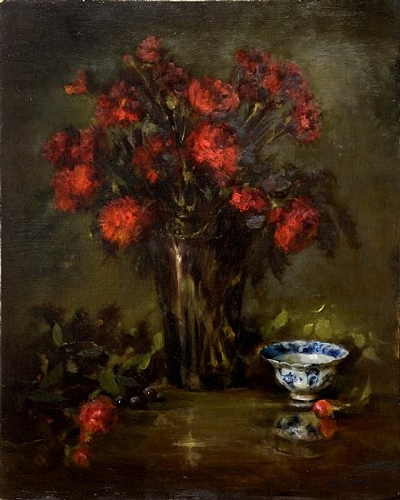 Red Carnations with Ming Rice Bowl by Jacqueline Kamin, oil painting, 20 x 16.
