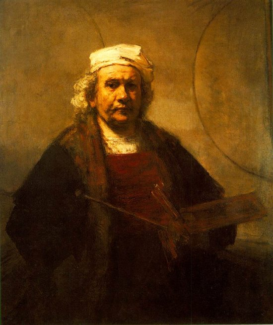 Self-portrait by Rembrandt, oil painting, 1661.