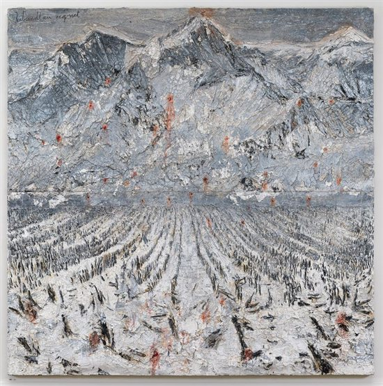 Einschusse by Anselm Kiefer, oil, emulsion, and acrylic with mixed media, 2010.
