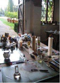 Painting studio at Castello di Spannocchia.