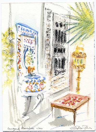 Marrakesh by Ellen Maidman-Tanner, 2009, watercolor painting on paper.