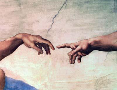 Detail of The Creation of Adam by Michelangelo, Sistine Chapel ceiling, 1611.