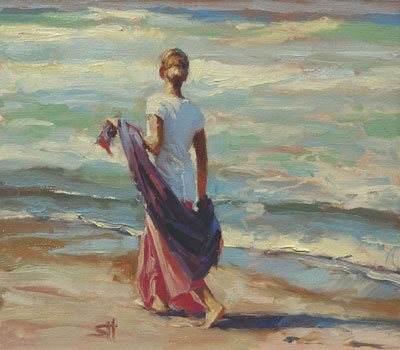 There's a time for mentally wandering down the beach, and a time for doing the necessary work to keep your website up to date. After the latter - that's the time to daydream. Daydreaming by Steve Henderson, oil on canvas. Courtesy Steve Henderson Fine Art.
