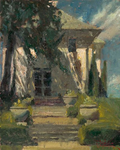 Sometimes it is helpful to set or premix your palette, so that colors you anticipate using will be ready and waiting for you. This is especially true if painting outdoors, as C.W. Mundy did in this work titled The Lilly Mansion, where light and weather conditions can change rapidly.