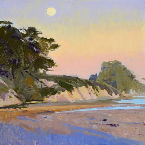 Winter Sun, Full Moon by Marcia Burtt, acrylic painting