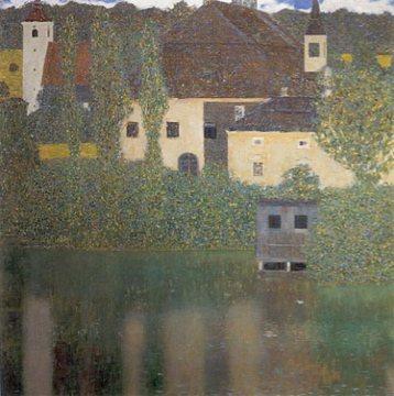 Schloss Kammer at Lake Atter I by Gustav Klimt, 1908, oil on canvas.