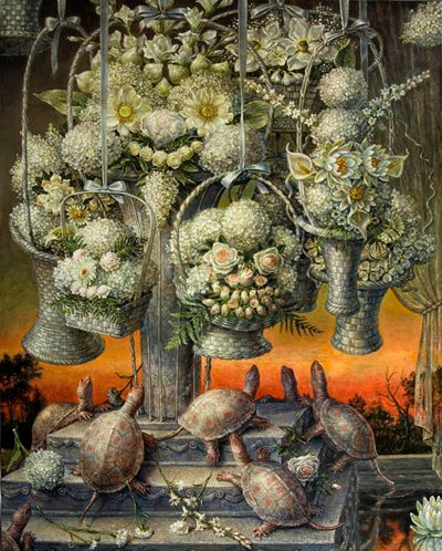 Still Life Variation, Phlegmatic by Thomas Woodruff, 2009-10, acrylic on linen, 60 x 40.