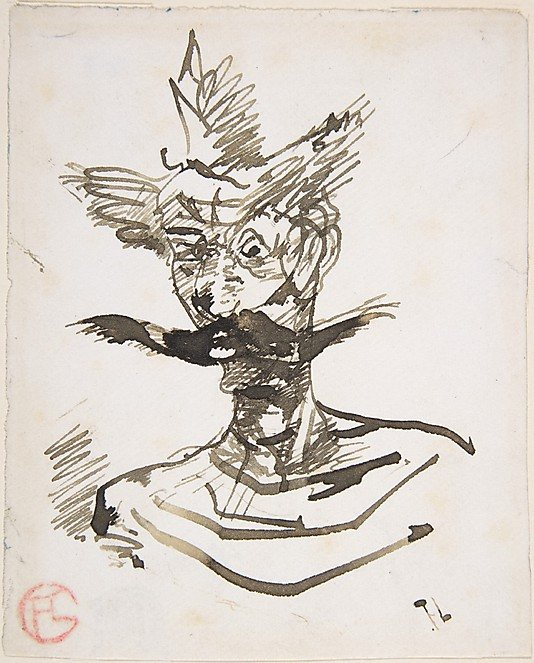 The Clown: M. Joret by Henri Toulouse-Lautrec, 1885, pen and ink drawing.