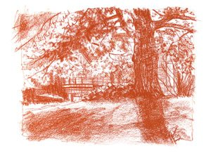 Fall at Solstice Farm by John Hulsey, conte drawing, 6.5 x 8.5.