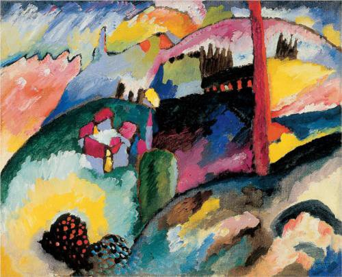 Landscape with Factory Chimney by Wassily Kandinsky, 1910, oil on canvas.