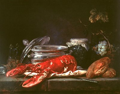 Still Life with Lobster by Anne Vallayer-Coster, 1781.
