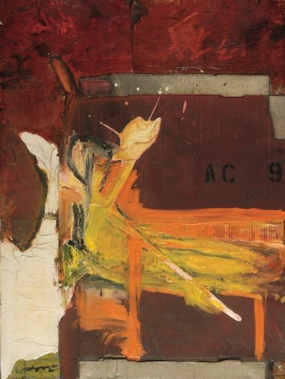 Orange and Yellow on Red Relief by John McCaw, 40 x 30.