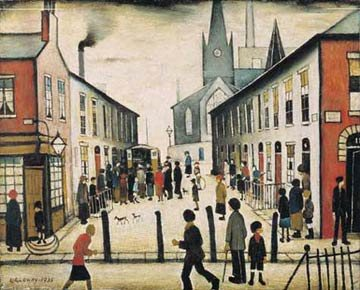 L.S. Lowry's The Fever Van uses one- and two-point perspective.