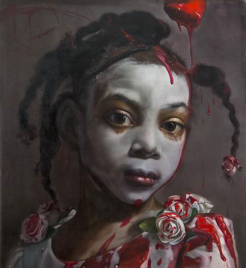 Painting the Roses Red by Margaret Bowland, 2012, oil on linen, 55 ½ x 51.