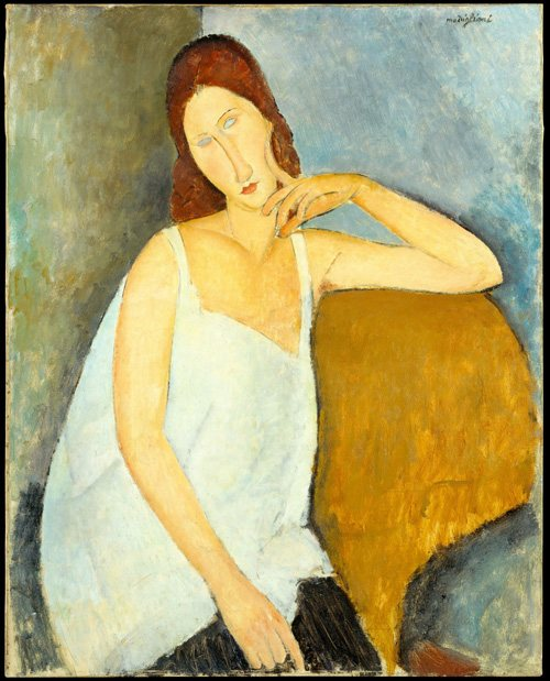Jeanne Hébuterne by Amedeo Modigliani, 1918, oil, 36 x 28. Collection The Metropolitan Museum of Art, New York, New York.