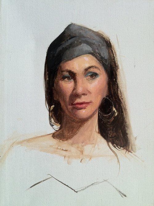 Portrait of the Fortune Teller by Kristin Künc, oil on linen, 9 x 13, 2010.