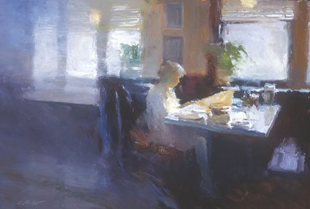 I would love to take an oil painting workshop with Dan McCaw. He has such a strong compositional sense that he stresses with light and dark forms. Morning Light, oil painting, 24 x 36.