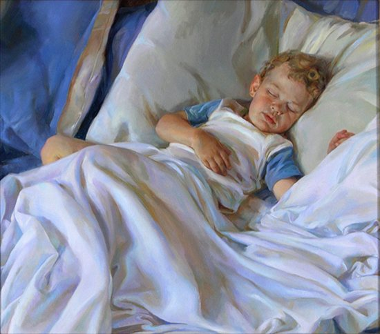 Joseph Sleeping by Rose Frantzen, 28 x 34, oil painting.