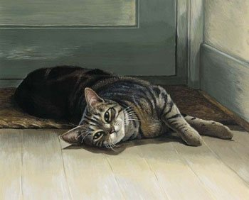 A cat painting by UK artist Celia Pike.