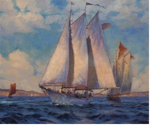 It's a sailboat, on the ocean, on a breezy day. It's okay to use every day, easy to understand words, formed into clear sentences, to describe our paintings and our lives. Just Breezin', original oil painting by Steve Henderson.