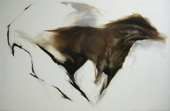 Equus 1 by Aaron Yamada-Hanff, oil on canvas, 66 x 104, 2011