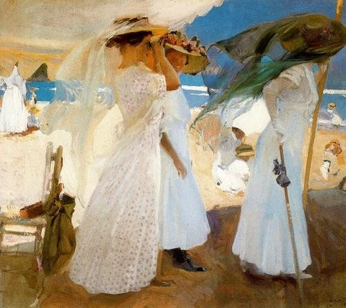 Under the Awning by Joaquin Sorolla, oil painting, 1910.
