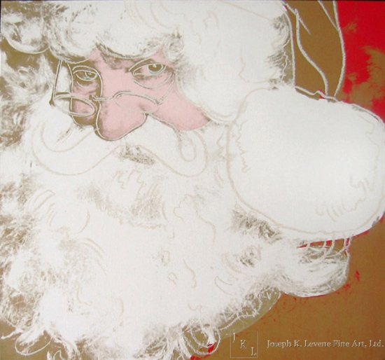 Myths: Santa Claus by Andy Warhol, 1981-85, synthetic polymer paint and silkscreen ink with diamond dust on canvas, 40 x 40.