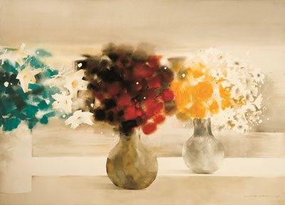 Flower No. 1 by Law Wai Hin, watercolor painting, 29 1/2 x 41 1/2.