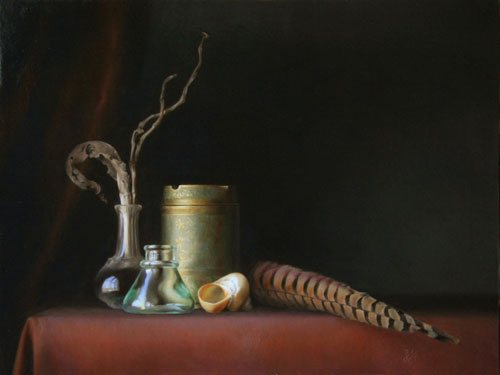 I envision works of art like this (Friends of a Feather by Sadie Valeri, 12 x 16, oil on panel, 2010) starting as interesting or beloved objects--arranged on a shelf or stowed away in a drawer--that catch the artist's eye when they are away from the studio.