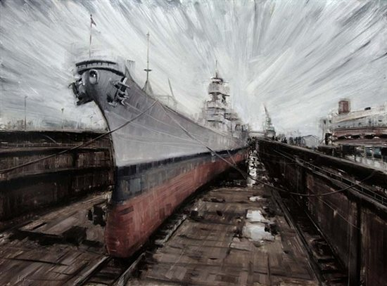 Naval Field (study) by Valerio D'Ospina, 2010, oil on melamined MDF, 31 x 24.