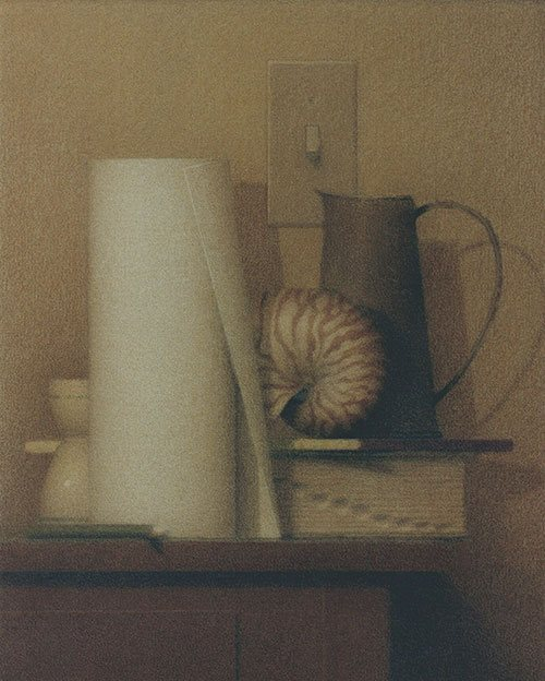 Still Life With a Pitcher 2006, colored pencil and ink wash on canvas, 16 x 22. Private collection.