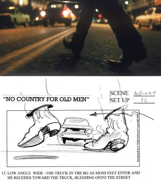 The Coen Brothers shoot scenes that adhere very closely to J. Todd Anderson's storyboard drawings, as this pair showing the artist's storyboard and a still from the Coen Brothers' film No Country for Old Men shows.