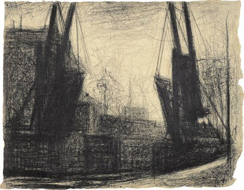 Drawbridge by Georges Seurat, 1882-83, conté crayon and white chalk drawing on paper, 9-5/8 x 12-1/4.