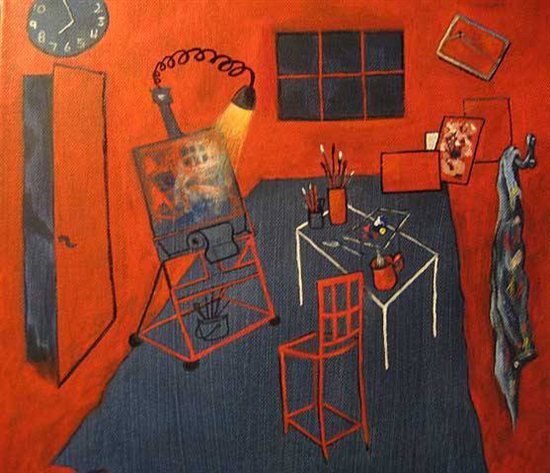This painting by Darlene Brown is of the artist's studio and is in the style of Henri Matisse.