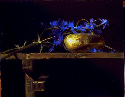 Sherrie McGraw is a master at color juxtaposition and working angles in her compositions as in this still life painting.